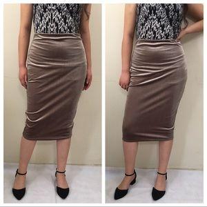 Boohoo Maya Taupe Velvet Bodycon Midi Skirt
